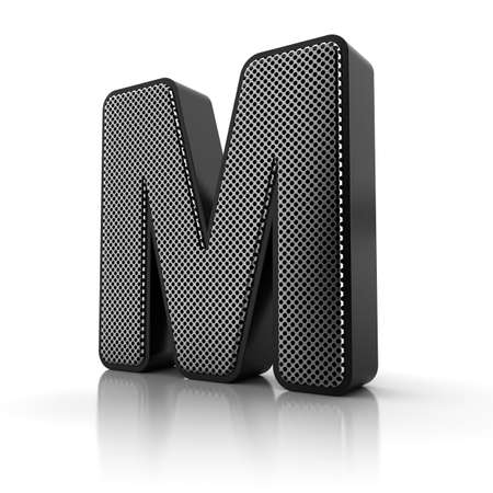 metal letter: The letter M as a perforated metal object over white