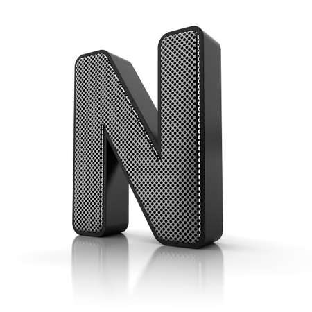 The letter N as a perforated metal object over white photo
