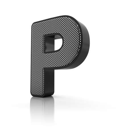 letter p: The letter P as a perforated metal object over white