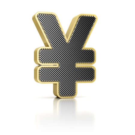 yen sign: The Yen symbol as a perforated metal object over white Stock Photo