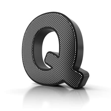 perforated surface: The letter Q as a perforated metal object over white
