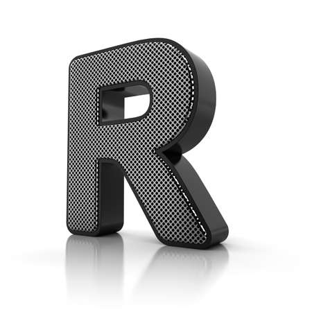 letter r: The letter R as a perforated metal object over white Stock Photo