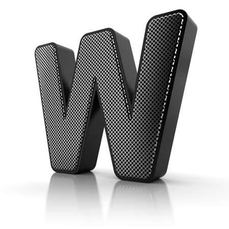 The letter W as a perforated metal object over white photo