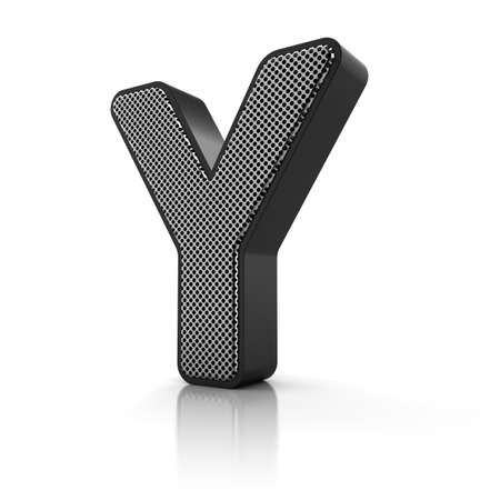 The letter Y as a perforated metal object over white Stock Photo - 15916599