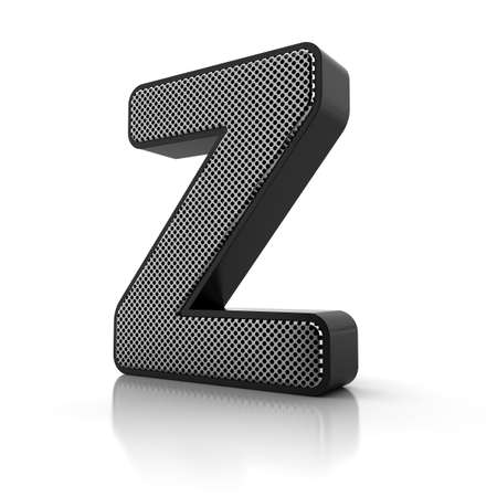perforated surface: The letter Z as a perforated metal object over white Stock Photo