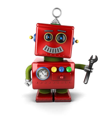 Toy mechanic robot holding a wrench over white background Foto de archivo