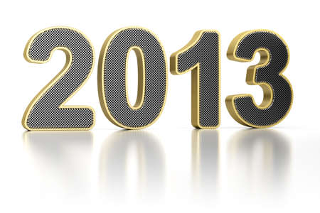 The year 2013 as perforated metal object over white, glossy background photo