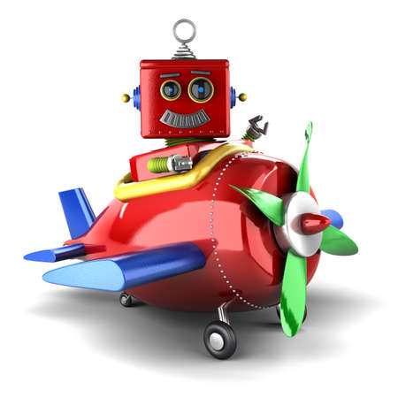 toy plane: Happy vintage toy robot sitting in a toy plane over white background