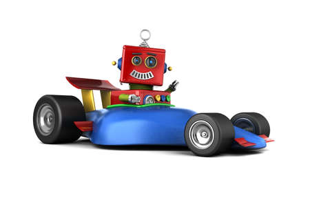 Happy vintage toy robot in a race car Imagens