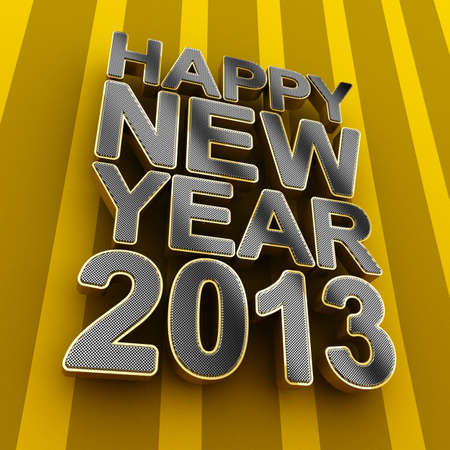 two thousand thirteen: Happy New Year 2013 metal text over striped background Stock Photo