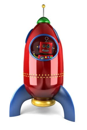 Happy vintage toy robot waving from inside a toy rocket over white background photo