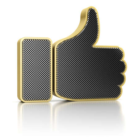 Thumbs up symbol as a perforated metal object over white background Stock Photo - 16400371