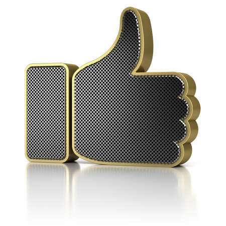 Thumbs up symbol as a perforated metal object over white background photo