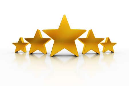 Vijf gouden sterren op witte achtergrond die voortreffelijkheid vertegenwoordigt