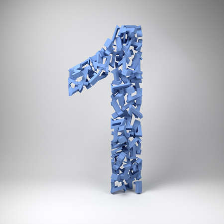ones: The number one made out of smaller numbers ones in a studio setting