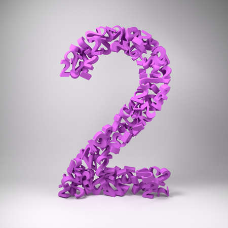 twos: The number two made out of smaller numbers twos in a studio setting
