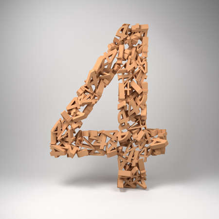 numerical: The number four made out of smaller number fours in a studio setting Stock Photo