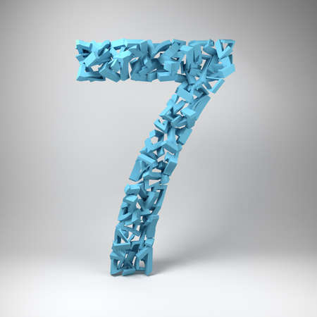 number seven: The number seven made out of smaller number sevens in a studio setting