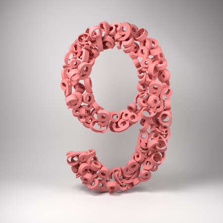 nines: The number nine made out of smaller number nines in a studio setting