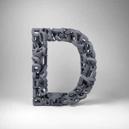letter d: Letter D made out of scrambled small letters in studio setting