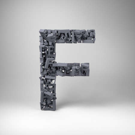 cryptography: Letter F made out of scrambled small letters in studio setting Stock Photo