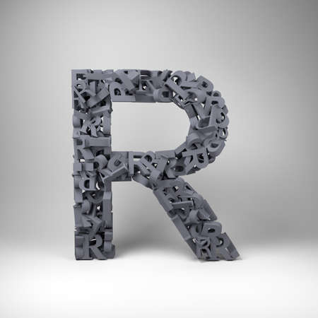 letter r: Letter R made out of scrambled small letters in studio setting