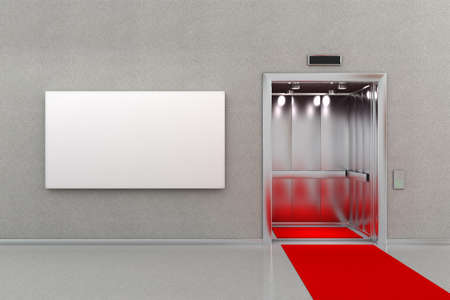 Open elevator in business lobby with a red carpet. The billboard next to the elevator is blank for your custom message. Stock Photo