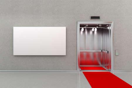 Open lift in zakelijke lobby met een rode loper. Het billboard naast de lift is leeg voor uw aangepaste bericht.