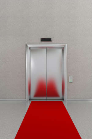 Business lobby showing closed elevator with red carpet photo