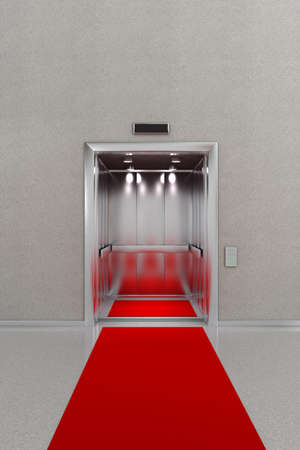 Business lobby with open elevator with red carpet photo