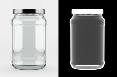 Lege glazen pot met aluminium deksel over witte achtergrond met alpha-masker voor perfecte isolatie met transparantie