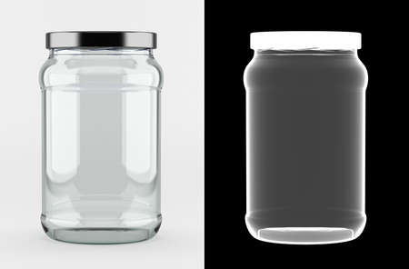 Empty glass jar with aluminum lid over white background with alpha mask for perfect isolation with transparency Foto de archivo