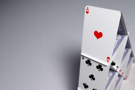 Macro close-up van een huis van kaarten Stockfoto