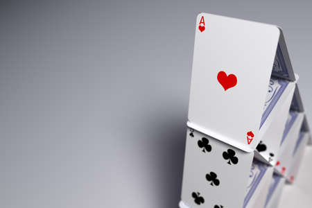Macro closeup of a house of cards