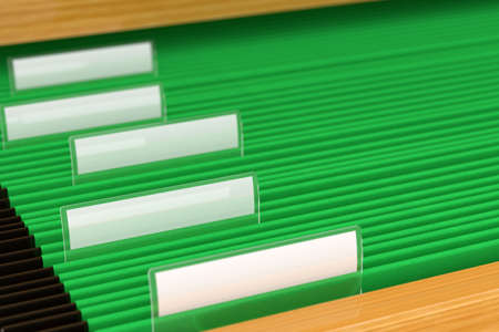Green File Folders with blank tags on them