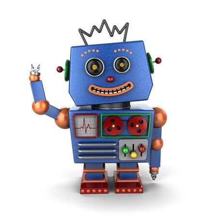 Lacht en zwaait vintage speelgoed robot op een witte achtergrond