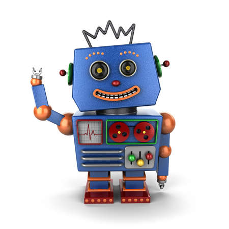 Smiling and waving vintage toy robot over white background