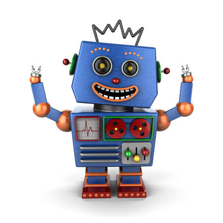 Super happy vintage robot throwing both his arms up in the air photo