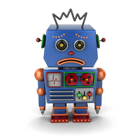 Very sad vintage robot over white background photo