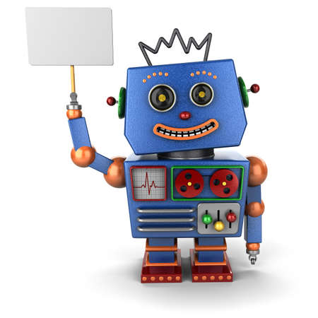 Vintage toy robot smiling and holding up a sign Foto de archivo