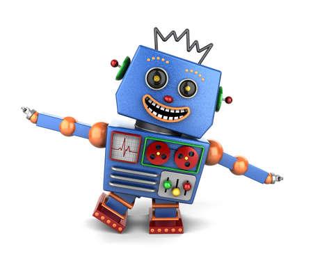 juguetes antiguos: Eufórico robot de juguete vintage sobre fondo blanco que juega el aeroplano