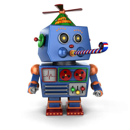 Funny toy robot wearing a happy birthday hat and blowing a party favor