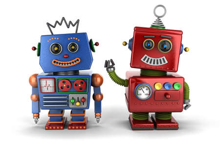 Two happy vintage toy robot buddies over white background