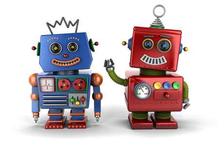Twee gelukkige uitstekende stuk speelgoed robot maatjes over witte achtergrond