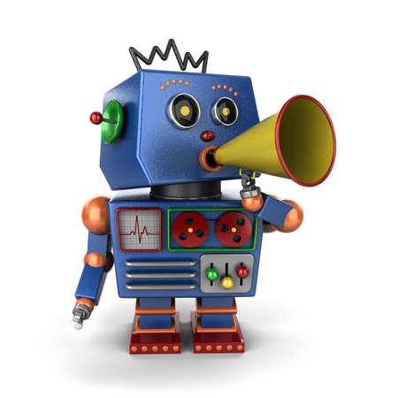 Vintage speelgoed robot schreeuwen uit een bericht met een megafoon op een witte achtergrond Stockfoto