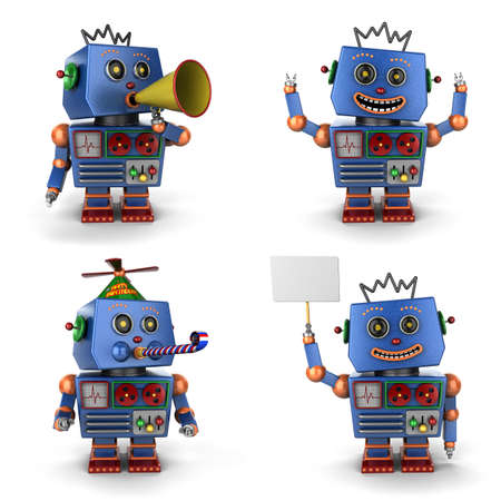 Blauwe toy vintage robot ingesteld op witte achtergrond