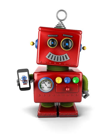palm pilot: Red, little vintage toy robot with smartphone, smiling