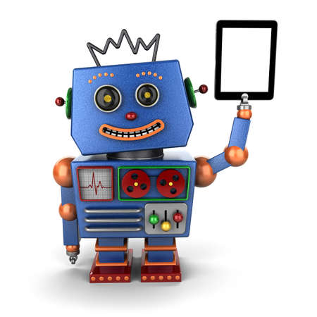 Happy, blue vintage toy robot with ablet PC over white background photo