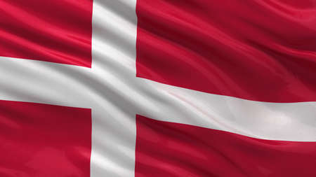Flag of Denmark waving in the wind with detailed fabric texture photo
