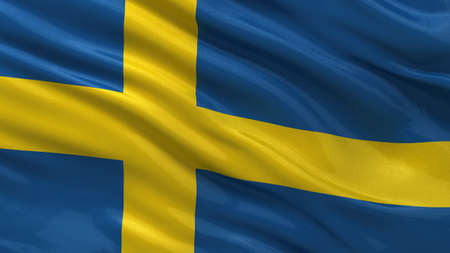 sweden flag: Flag of Sweden waving in the wind